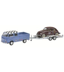 VOLKSWAGEN VW T2a Doppelkabine with car trailer and Ladybug