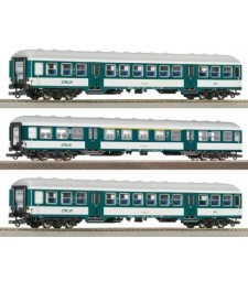 Set of 3 four-axle Passenger Cars by Luxembourg National Railway Company (CFL)