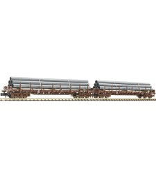 Set of 2 stake cars with pipes, Austrian Federal Railways, epoch V