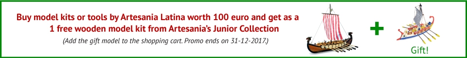 Buy a model kit or tools by Artesania Latina worth 100 euro and get a gift - 1 free wooden model kit from Artesania's Junior Collection!