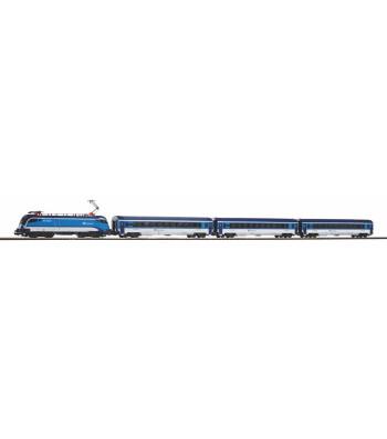 Starter Set Taurus CD Railjet w. 3 IC Passenger Cars Railjet, PIKO A-Track w. Railbed
