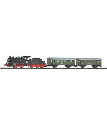 Starter Set Passenger Train DB with Steam loco + tender, PIKO A-Track w. Railbed