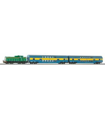 Starter Set PKP SM42 Diesel loco w. 2 Bi-level Passenger cars PKP V PIKO A-Track w. Railbed