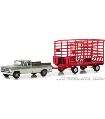 Greenlight Ford F-100 1969 Farm /& Ranch Special with Bale Throw Wagon 32150