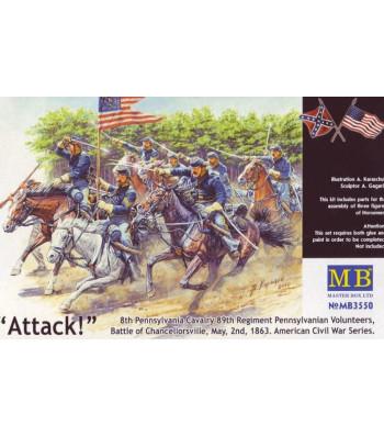 1:35 8th Pennsylvania Cavalry, 89th Regiment Pennsylvanian Volunteers, Battle of Chancellorsville, May, 2nd, 1863. American Civil War Series. Attack! - 3 figures