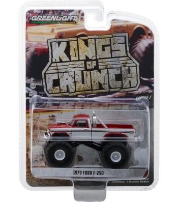 1979 Ford F-250 Monster Truck - Maroon with White Stripes Solid Pack - Kings of Crunch Series 1
