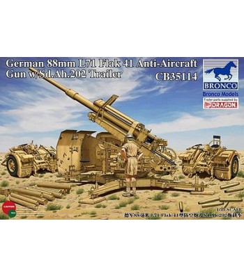1:35 German 8.8cm L71 Flak41 Anti-Aircraft Gun w/Sd.Ah.202 Tr