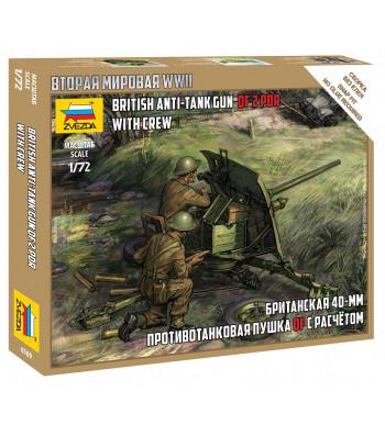 1:72 BRITISH 40 MM QF 2-pdr ANTITANK GUN WITH CREW - snap-fit
