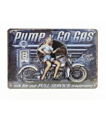 METAL PLATE - MOTO PUMP N GO GAS (20 x 30 cm)