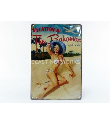 METAL PLATE - PIN UP VACATION IN THE BAHAMAS (21 x 30 cm)