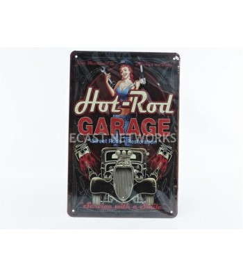METAL PLATE - HOT ROD GARAGE - STREET STREET RODS RESTORATION (20 x 30 cm)