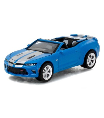 2017 Chevrolet Camaro SS Convertible - Hyper Blue with Silver Rally Stripes Solid Pack - GreenLight Muscle Series 18