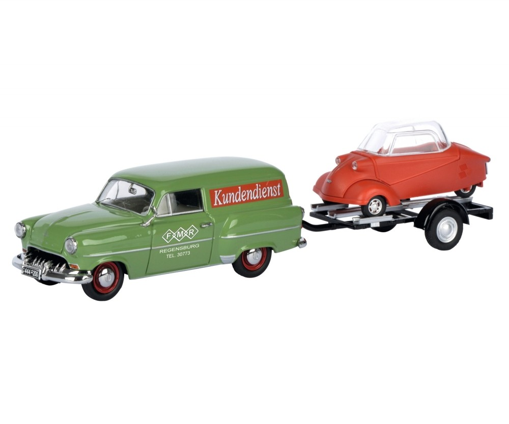 1:43 Schuco Opel Olympia Caravan with trailer and Messerschmitt KR ...