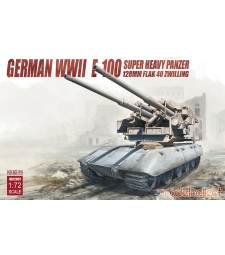 1:72 German WWII  E-100 super heavy panzer with 128mm FLAK 40 Zwilling