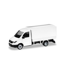 Herpa MiniKit 1:87 MAN TGE single cab with flatbed and tarpaulin, white