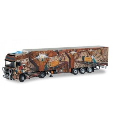"DAF XF 95 SSC refrigerated box trailer ""Herpa prаsentiert Weltgeschichte Nr.2"" by Tekno"