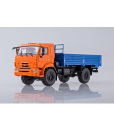 KAMAZ-43502 flatbed truck /orange-blue/