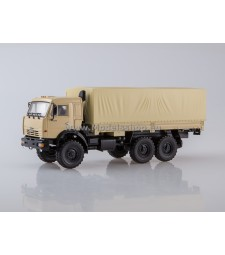 KAMAZ-43118 6x6 flatbed truck with tent /beige/
