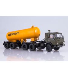 Kamaz-54112 tractor truck with cement semitrailer TC-11 /khaki - kollane/