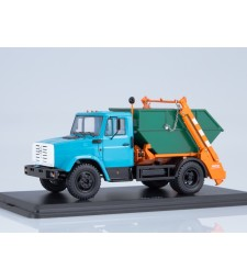Garbage Truck KO450 with Container (ZIL-4333), Blue-Orange