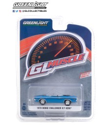 GreenLight Muscle Series 24 - 1970 Dodge Challenger Convertible - B5 Blue with Black Stripes Solid Pack