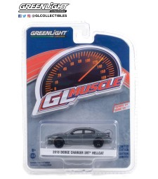GreenLight Muscle Series 24 - 2018 Dodge Charger SRT Hellcat - Granite Crystal with Black Stripes Solid Pack