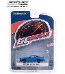 GreenLight Muscle Series 24 - 2021 Ford Mustang Mach 1 - Velocity Blue with Black Stripe Solid Pack