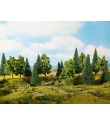 Mixed Forest (H0, TT) - 8 piece, 10 - 14 cm high