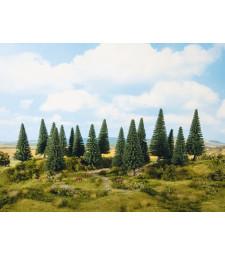 Fir Trees (H0, TT) - 16 pieces, 10-14 cm high