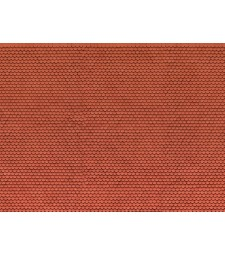 "3D Cardboard Sheet ""Plain Tile"" red, 25 x 12.5 cm (H0)"