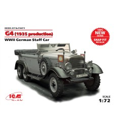 1:72 G4 (1939 production), WWII German Staff Car (100% new molds)    snap fit/no glue