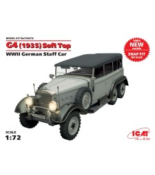 1:72 G4 (1935 production) Soft Top, WWII German Staff Car, snap fit (no glue)