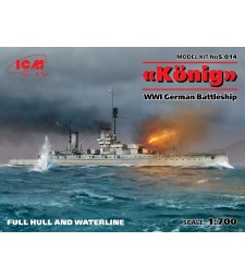 "1:700 German Battleship ""Konig"", WWI, full hull and waterline (100% new molds)"