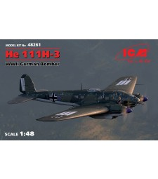 1:48 He 111H-3, WWII German Bomber (100% new molds)
