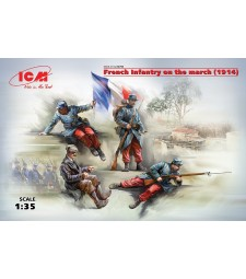 1:35 French Infantry on the march (1914) (4 figures) (100% new molds)