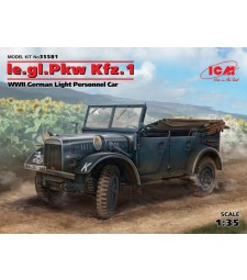 1:35 le.gl.Pkw Kfz.1, WWII German Light Personnel Car (100% new molds)