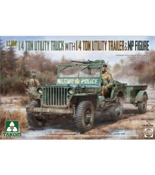 1:35 U.S. Army 1/4 ton utility truck with 1/4 ton utility trailer &  MP figure