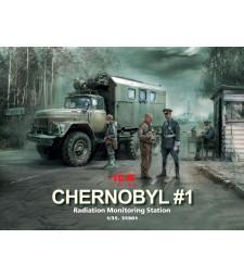 1:35 Chernobyl#1. Radiation Monitoring Station (ZiL-131KShM truck & 5 figures & diorama base with background)