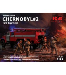 1:35 Chernobyl#2. Fire Fighters (AC-40-137A firetruck & 4 figures & diorama base with background)