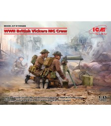 1:35 WWII British Vickers MG Crew (Vickers MG & 2 figures) (100% new molds)