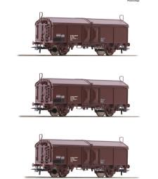 Set of three sliding roof wagons, OBB, epoch IV-V