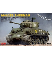 1:35 SHERMAN M4A3E8 W/ WORKABLE TRACK LINKS