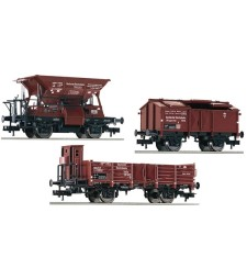3 piece set: goods wagons that match the E 69 05 (item number 430002), DRB, epoch II