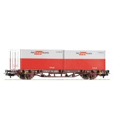 Flat Car OeBB Cargo w 2- 20' Containers, epoch VI