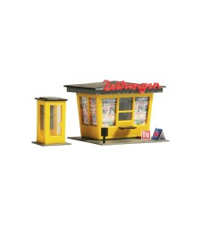 Newspaper stand with telephone booth    H0/TT