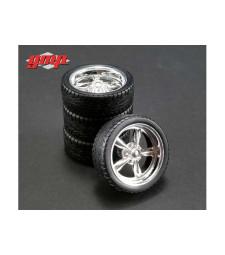 Chrome Custom Muscle Car Wheel & Tire Pack