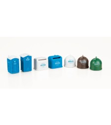 Mobile toilets recycling containers