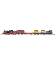 Starter Set Steam locomotive G7.1 with 5 Freight Cars DR, PIKO A-track w. Railbed