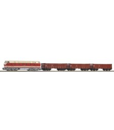 Starter Set DR BR 119 w 3 High Side Gondolas Eal, PIKO A-track w. Railbed