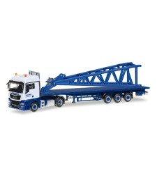 "MAN TGX XLX 6c flatbed semitrailer with end piece for Liebherr LR 1600/2 ""Wasel"""